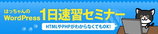 はっちゃんのWordPress1日速習セミナー HTMLやPHPがわからなくてもOK!